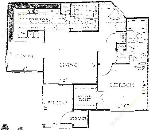 726 sq. ft. to 798 sq. ft. A1 floor plan