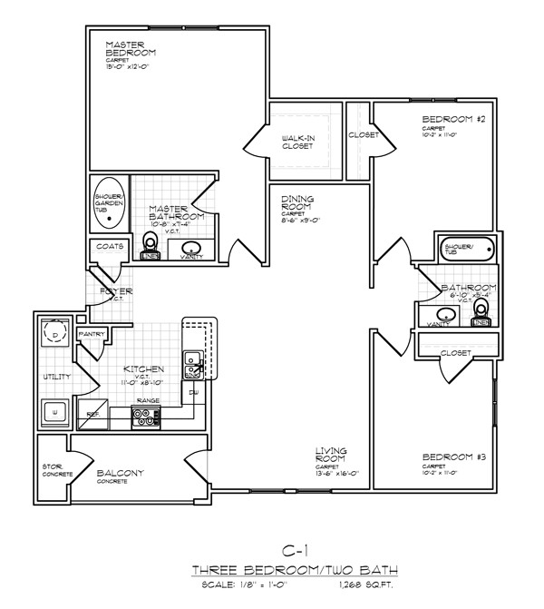 1,268 sq. ft. C1 FLAT 60% floor plan
