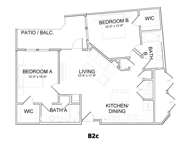 1,059 sq. ft. B2C floor plan