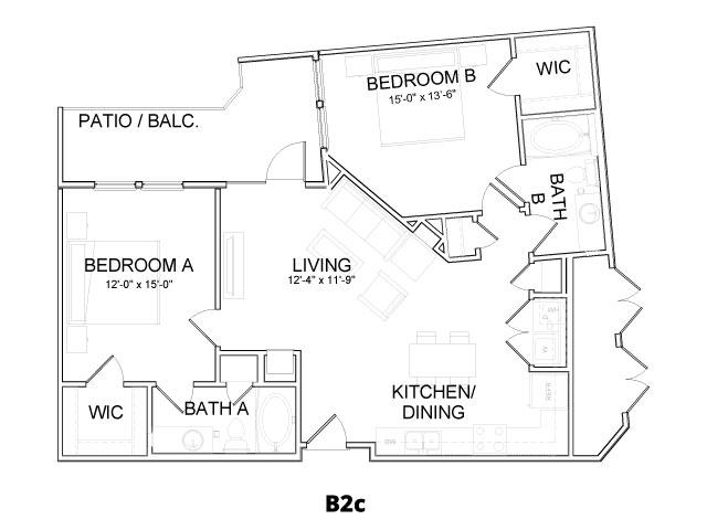 1,059 sq. ft. B2C floor plan