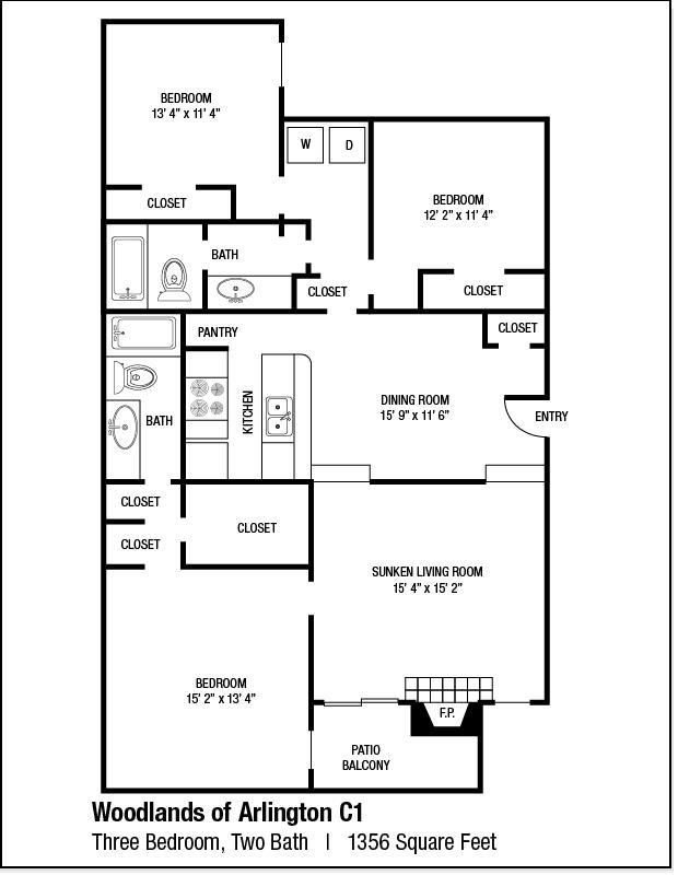 1,356 sq. ft. C1 floor plan