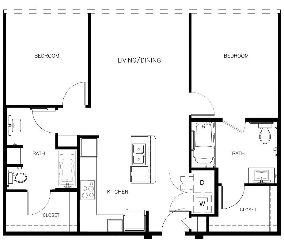 1,051 sq. ft. to 1,104 sq. ft. B1-HC floor plan
