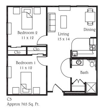 765 sq. ft. C3 floor plan