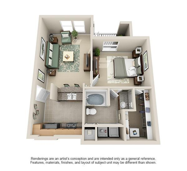658 sq. ft. Bandera floor plan
