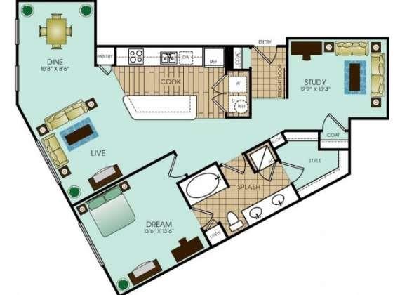 1,122 sq. ft. B7 floor plan