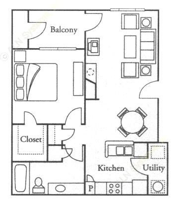 707 sq. ft. Jasmine floor plan