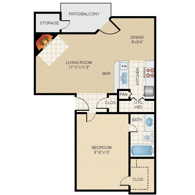 688 sq. ft. A2 floor plan