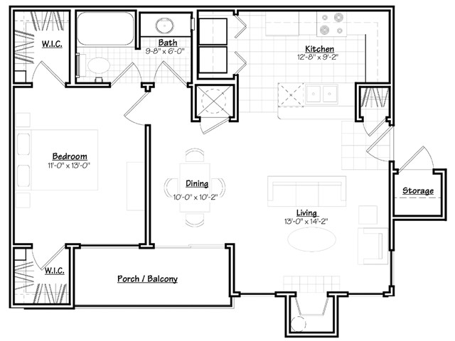 721 sq. ft. Cypress floor plan