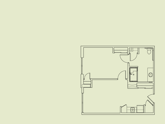 670 sq. ft. to 740 sq. ft. Assisted Living floor plan