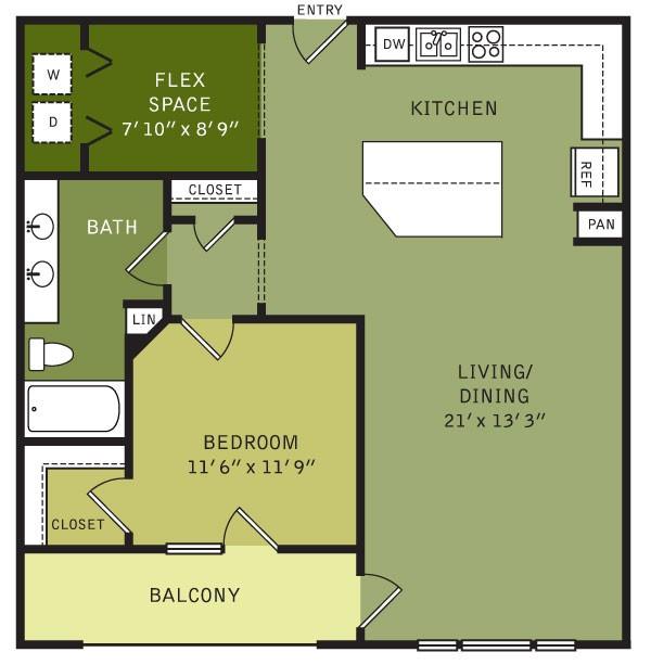 969 sq. ft. AF2 (II) floor plan