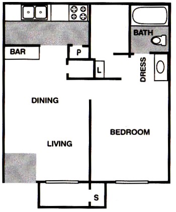 559 sq. ft. A1 floor plan
