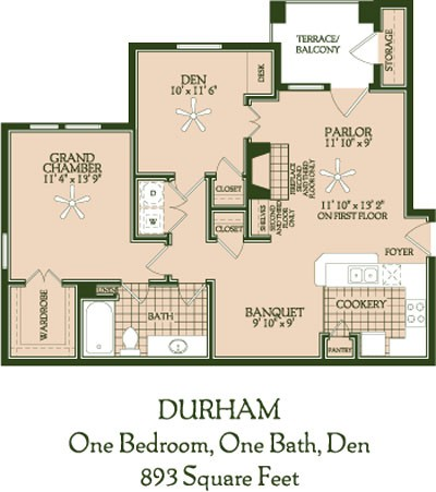 893 sq. ft. Durham floor plan