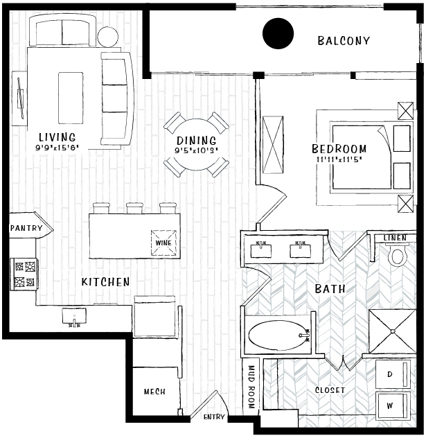 890 sq. ft. A9 floor plan