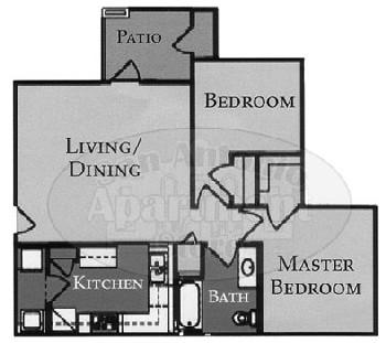 986 sq. ft. Bristol/60% floor plan