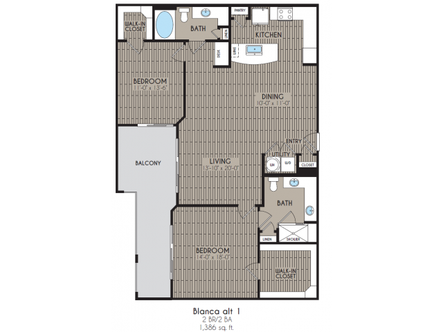 1,386 sq. ft. Blanca Alt 1 floor plan