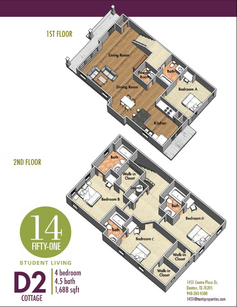 1,688 sq. ft. D2 floor plan