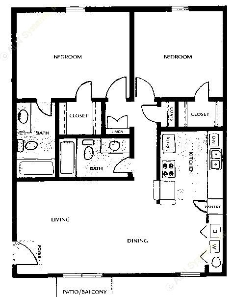 949 sq. ft. floor plan