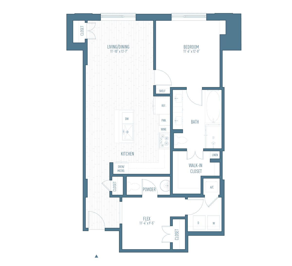 1,075 sq. ft. A18/Flex floor plan