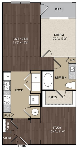 857 sq. ft. A6 floor plan