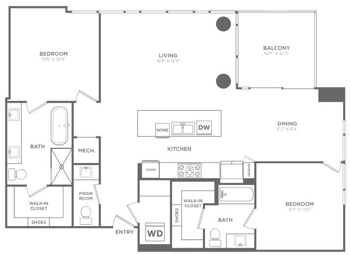 1,474 sq. ft. TB2 floor plan