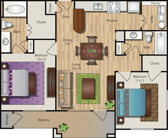 998 sq. ft. B1 floor plan