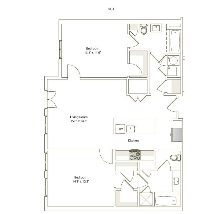 1,133 sq. ft. B1-1 floor plan