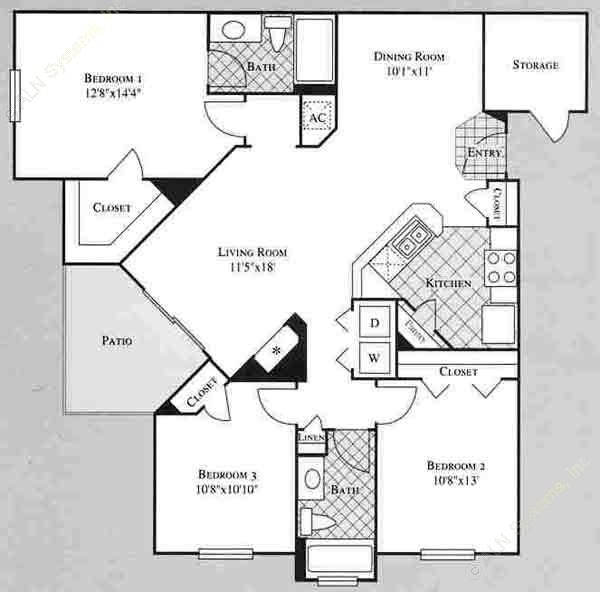 1,260 sq. ft. LILAC floor plan