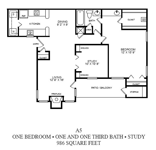 986 sq. ft. A5 floor plan