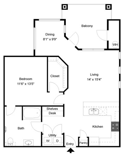 915 sq. ft. A5 floor plan