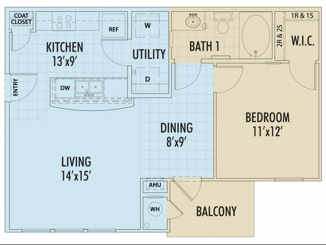 674 sq. ft. PINO/30% floor plan
