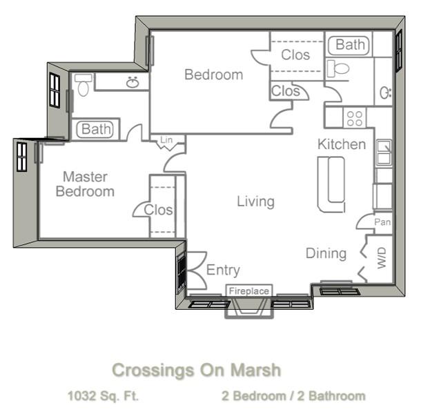 1,032 sq. ft. B3 floor plan