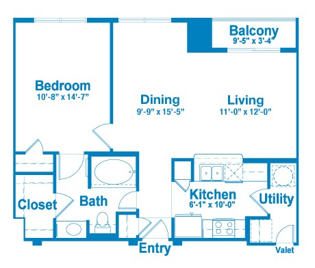 786 sq. ft. AT1 floor plan
