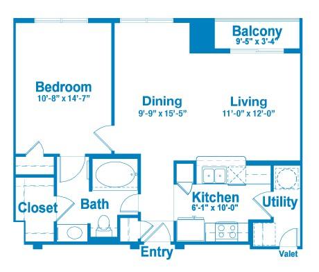 786 sq. ft. AT1 floor plan
