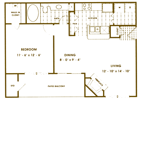 701 sq. ft. A2 floor plan