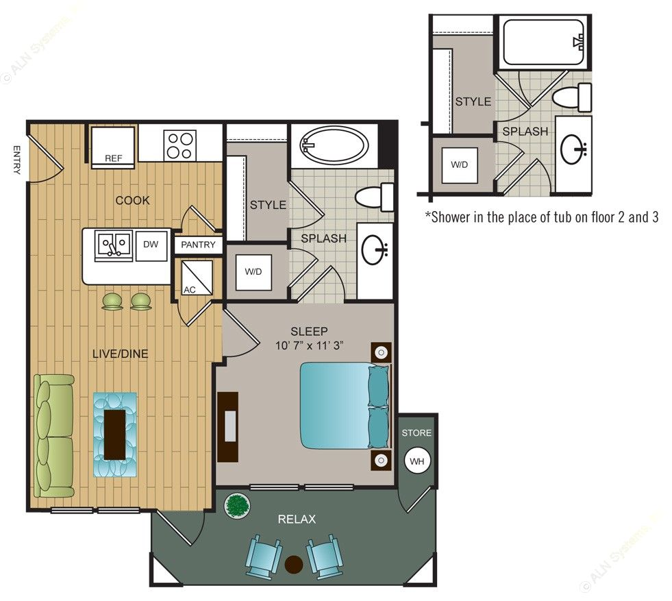 518 sq. ft. A2 floor plan