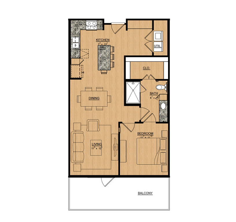 825 sq. ft. Lily floor plan