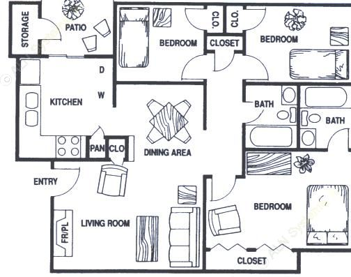 1,042 sq. ft. C2 floor plan