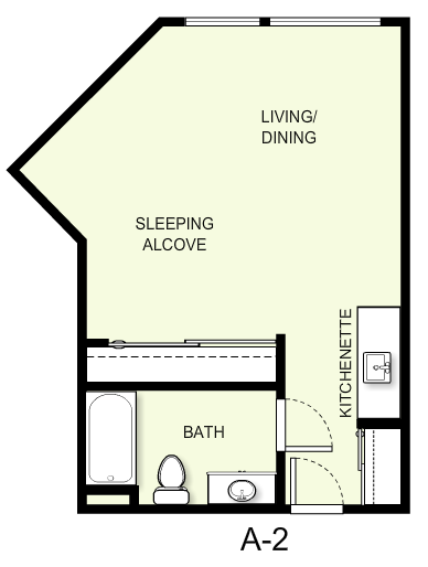 462 sq. ft. A2 floor plan
