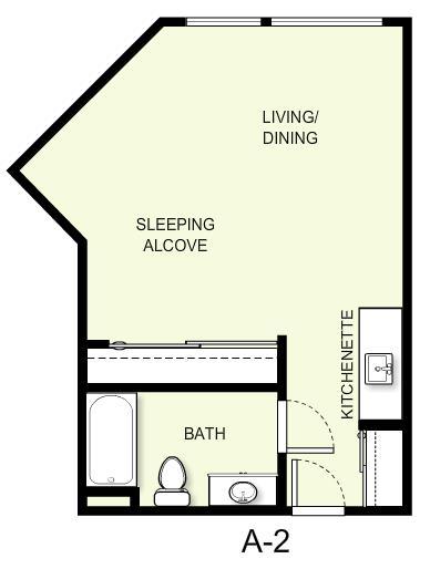 462 sq. ft. A2 floor plan