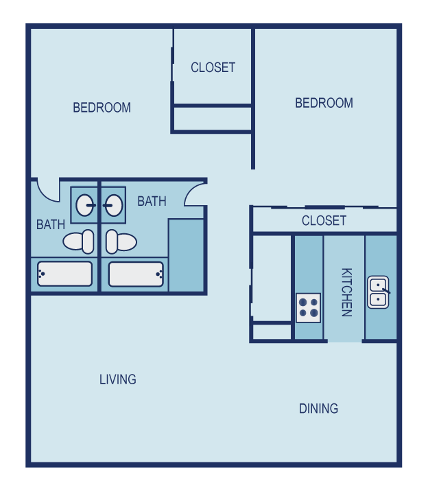 990 sq. ft. C1 floor plan