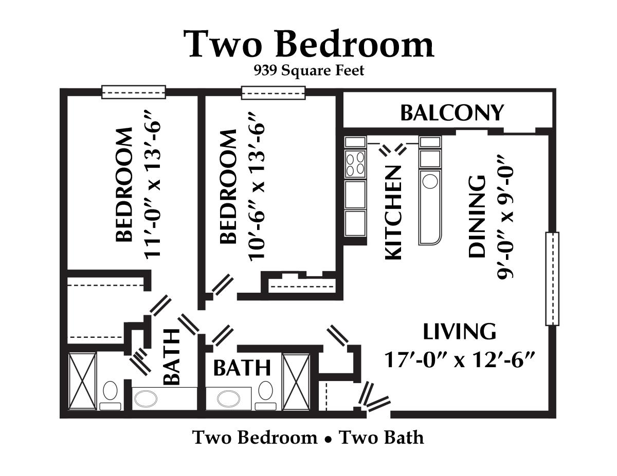 939 sq. ft. floor plan