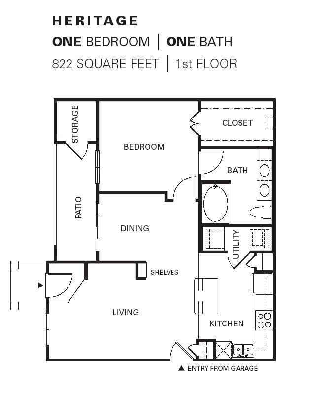 822 sq. ft. HERITAGE G floor plan