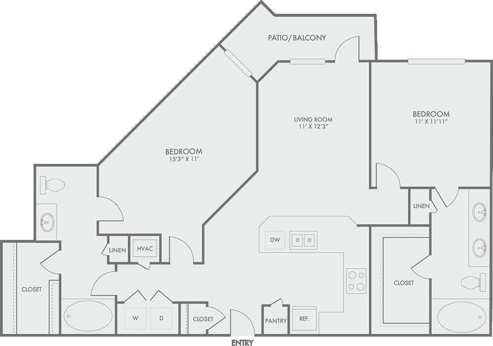 1,151 sq. ft. B3 floor plan