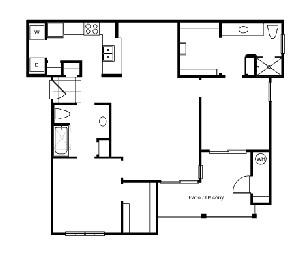 1,034 sq. ft. B2E2 floor plan