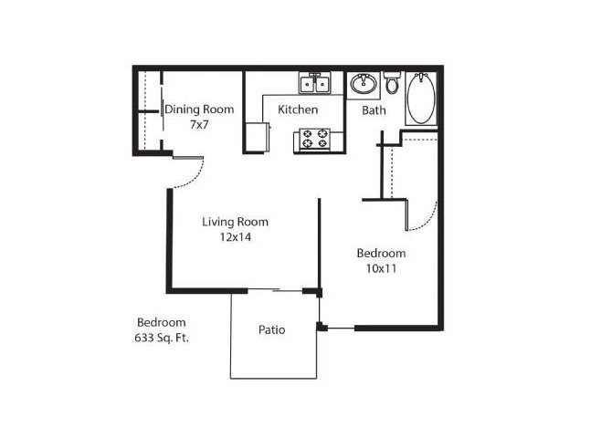 633 sq. ft. A1 floor plan