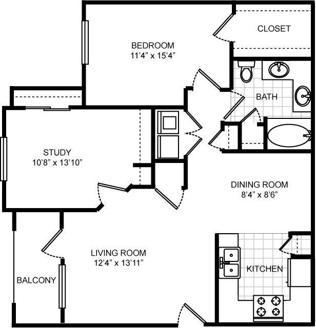 977 sq. ft. B1 floor plan