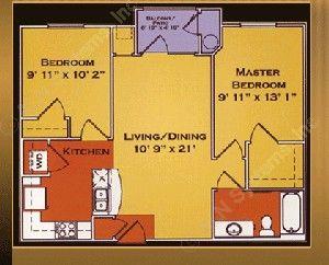 787 sq. ft. Bradford/60% floor plan