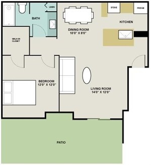 775 sq. ft. Madrid floor plan