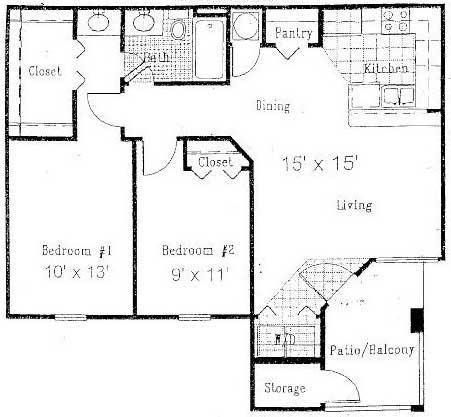 870 sq. ft. B floor plan