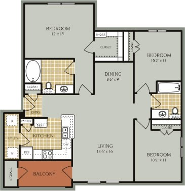 1,268 sq. ft. C1/50% floor plan